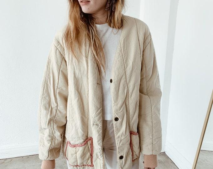 Quilted czech liner coat - petal