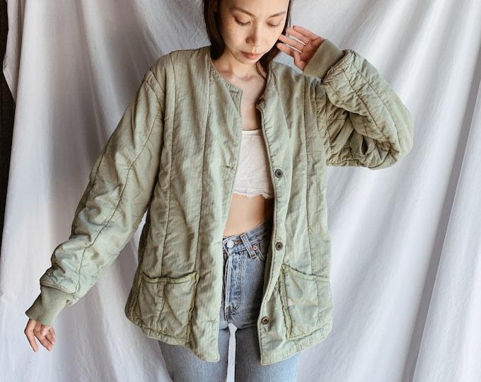 Quilted cotton liner coat - sage