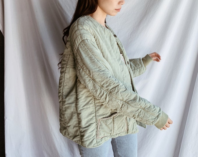 Quilted cotton liner coat - sage