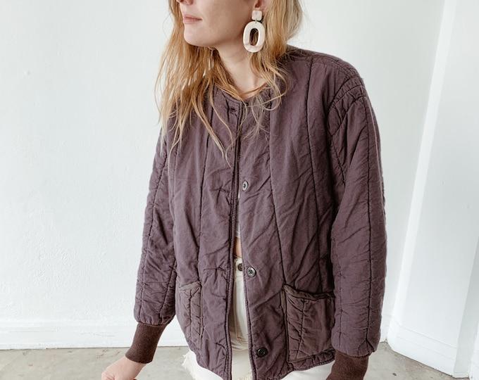 Quilted czech liner coat - plum
