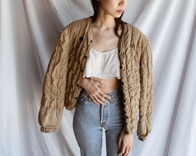 Quilted button coat - dust