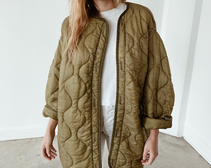 Quilted nylon jacket - olive