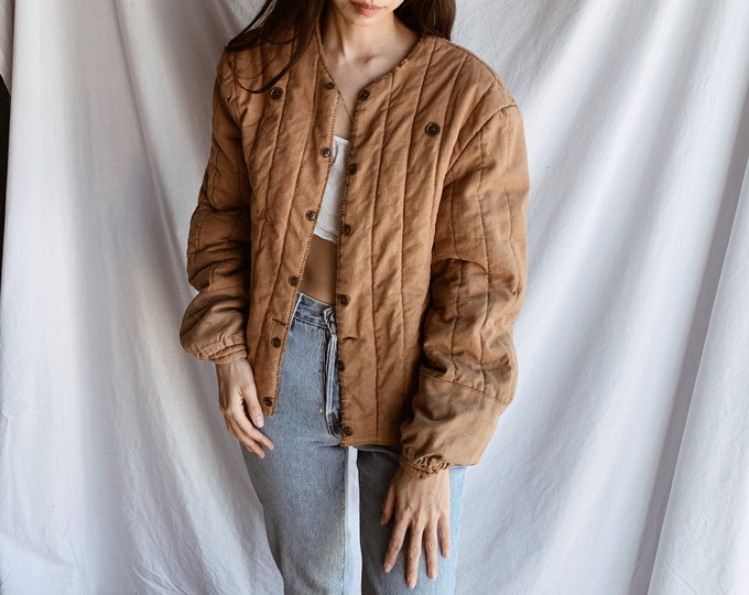 Quilted button coat - terra