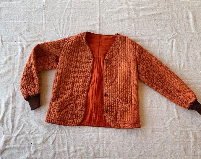 Quilted cotton liner coat - brick