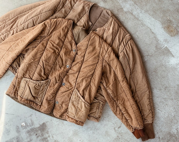 Quilted cotton liner coat - cacao