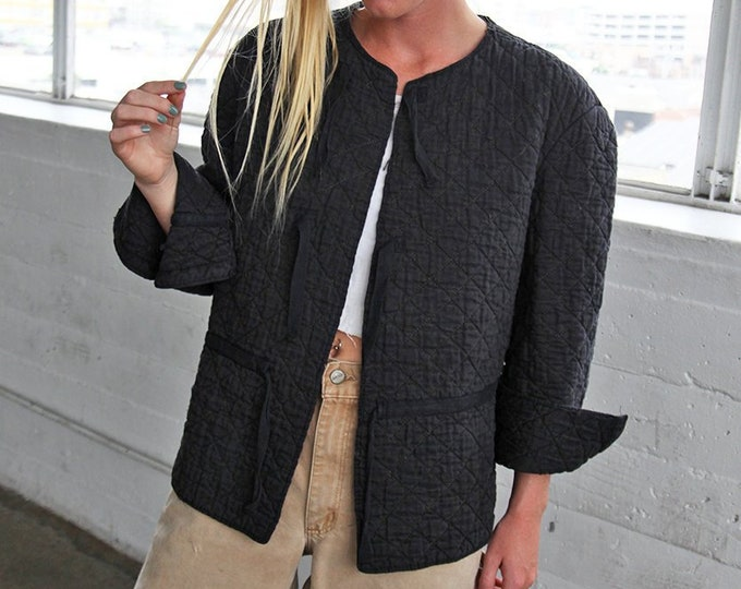 Cotton Quilted Jacket - charcoal