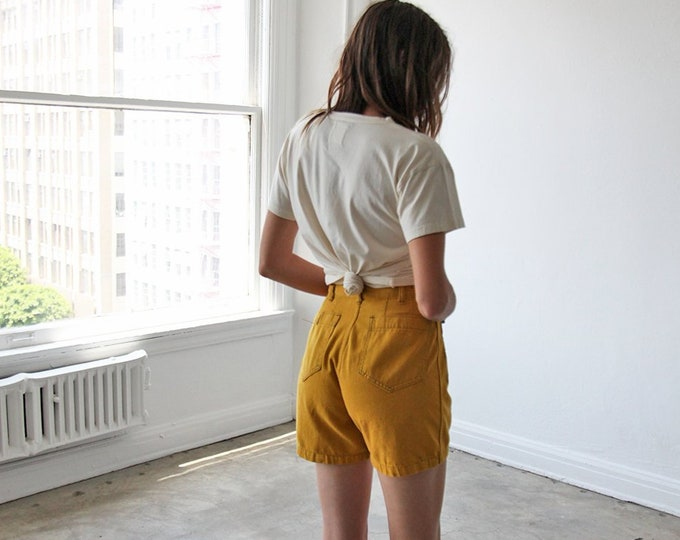 Overdyed cotton shorts - mustard