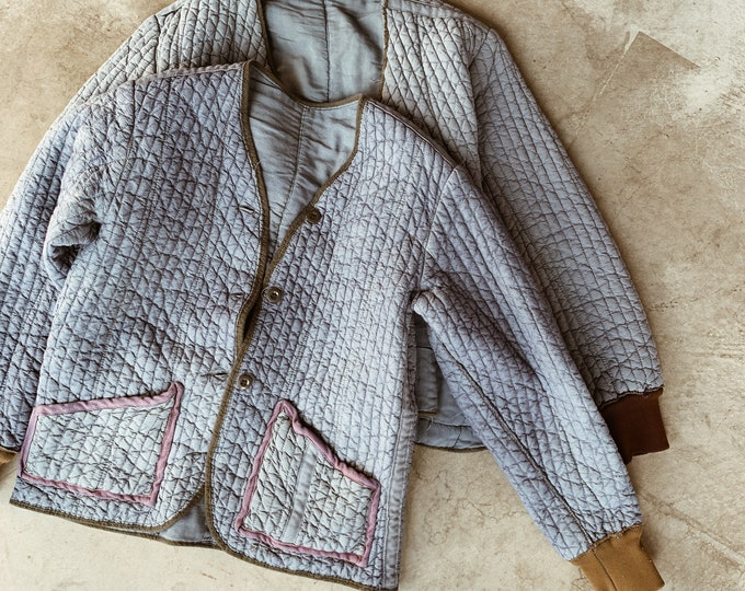 Quilted cotton liner coat - berry