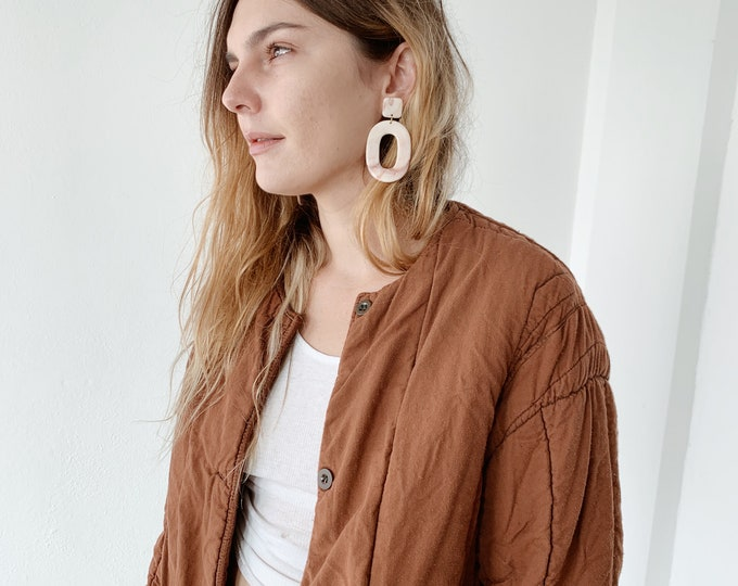 Quilted czech liner coat - rust