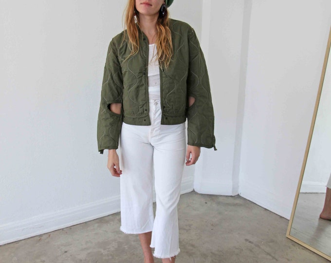 Cotton quilted liner coat - olive