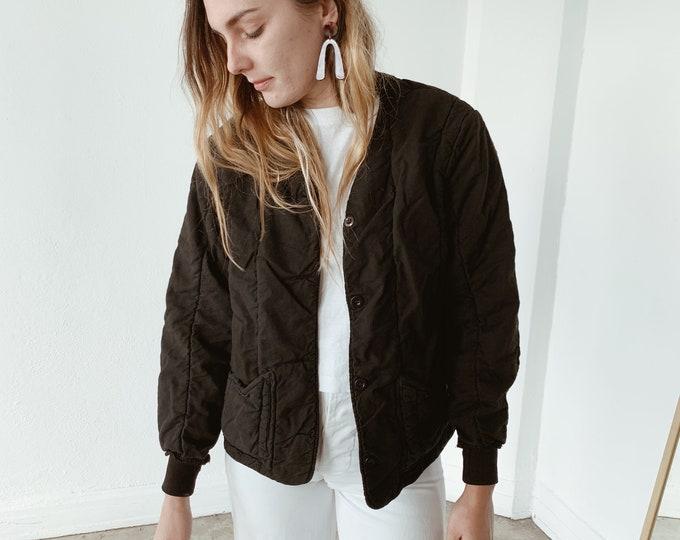 Quilted czech liner coat - noir