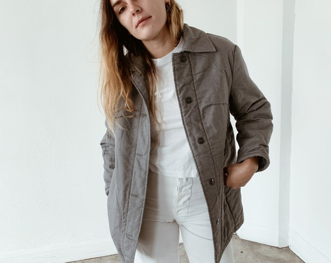 Cotton quilted coat - slate