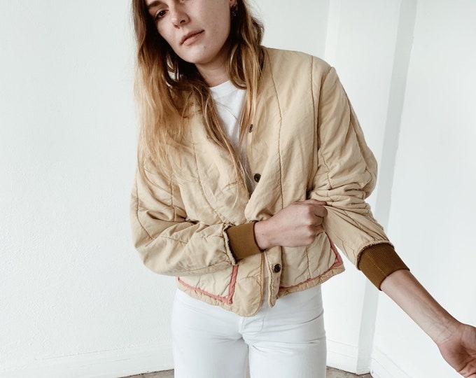 Quilted czech liner coat - créme
