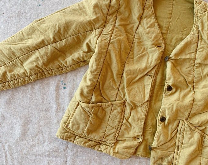 Quilted cotton liner coat - pea