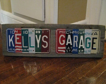 License Plate Sign -Made To Order- Personalized Gift - garage sign - Father's Day - License Plate Decor- Garage sign Decor