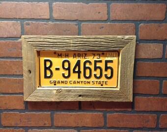 Barn wood frame license plate display -includes plate -Father's Day -license plate art-  license plate decor- barn wood decor