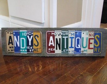 Personalized License Plate Sign - business sign - made to order  - Vintage license plate decor- father day gift- garage art- office decor