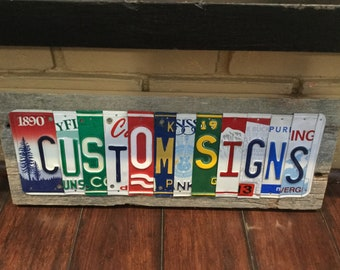 License Plate Sign, Personalized Custom Sign, Gift for him, family name sign, Man Cave Sign Garage Sign