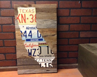 License Plate State Shape Art - Pick Your State - Vintage License Plate Wall Art - Barn Wood - reclaimed wood -