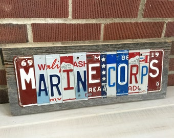 Marines License Plate Sign -Made To Order  License plate Art - Personalized Gift -  Marines Air Force Army Navy
