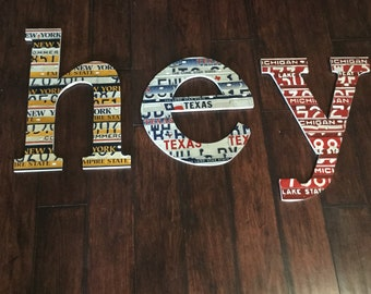 Large Nursery  Letters license plate art-made to order-large mosaic letters- nursery decor-monogram decor-license plates- large wood letters
