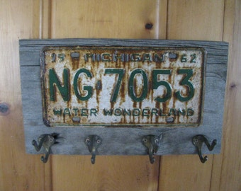 License plate BARN wood coat rack - made to order - coat hanger - vintage license plates- barn wood - vintage brass hooks-