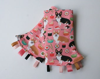 Baby Carrier Suck/Drool Pads - Corgis and Sushi (for Happy Baby, Tula, Lillebaby, Ergo & more) - Choose Straight or Curved (Made to Order)