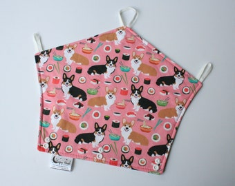 Baby Carrier Drool Bib - Corgi and Sushi (Made to Fit LÍLLÉbaby, Happy Baby, Ergo 360, Adapt, Omni 360, Tula Explore & Beco Gemini Carriers)