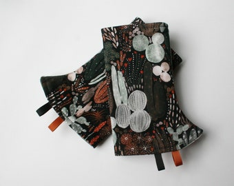 Baby Carrier Suck/Drool Pads - Nighttime Cacti (for Happy Baby, Tula, Lillebaby, Ergo & more) - Choose Straight or Curved (Made to Order)