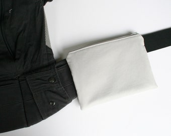 Baby Carrier Waist Pouch - Cloud (Light Gray) Canvas (Fits Kinderpack, Tula, Lillebaby, Happy Baby, Beco or any SSC) - Made to Order