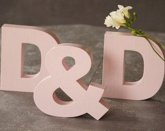 Blush Wooden Letters - Freestanding Wedding Initial and Ampersand- Personalized Wooden Initials