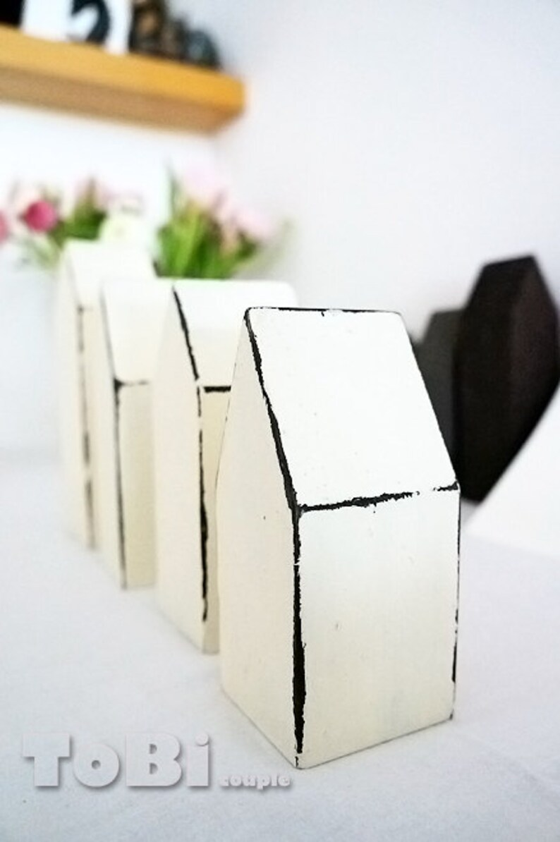 Set of 4 wooden miniature house  home decoration image 0