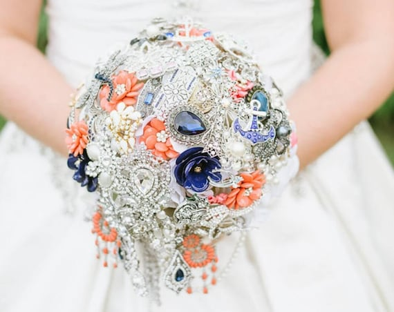 DEPOSIT on Custom Made Cascading Bridal Brooch Bouquet White Pearl Navy Blue and Coral Broach Bouqet Peach Salmon Pink Naval Wedding