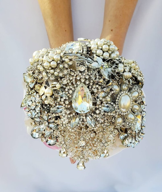 DEPOSIT ON Brooch Bouquet Custom Bridal Broach Bouqet Silver Clear Crystal Sparkly Bling Jeweled Bouqet Pink Blue
