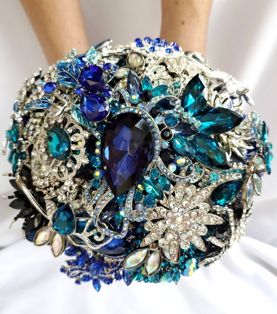 DEPOSIT on a Customized Bridal Wedding Brooch Bouquet Art Deco Pearl Silver Teal Turquoise Blue Black Crystal Broach Bouqet