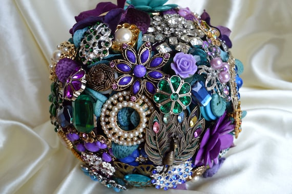 ASSEMBLY Service FULL PRICE Custom Made Peacock Bridesmaid Bridal Brooch Bouquet Purple Teal Green Royal Blue Turquoise Vintage Hearts Pearl