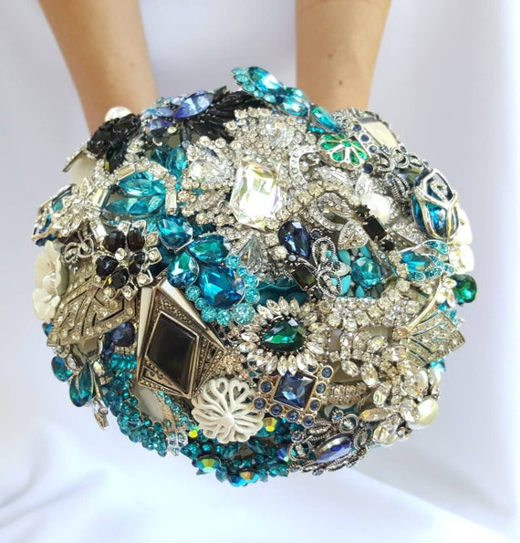 DEPOSIT on a Customized Bridal Wedding Brooch Bouquet Art Deco Pearl Silver Emerald Green Teal Turquoise Blue Black Crystal Broach Bouqet
