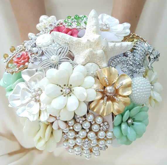 DEPOSIT on a Customized Bridal Wedding Brooch Bouquet Pearl Silver  Mint Sea Foam Green Champaigne Topaz Gold Coral Crystal Broach Bouqet