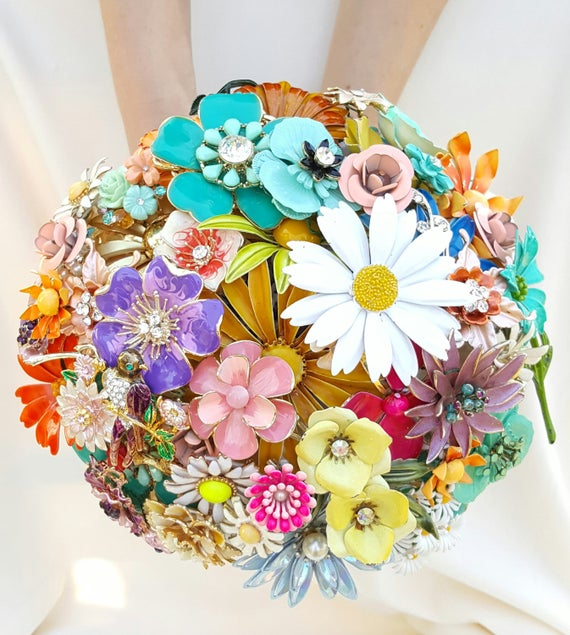 CUSTOM ORDER Vintage Colorful LARGE Bridal Brooch Bouquet Aqua White Daisy Purple Silver Gold Yellow Orange Blue Mint Ivory Broach Bouqet