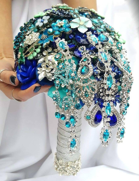 DEPOSIT on CUSTOM MADE Bridal Brooch Cascading Bouquet Turquoise Royal Blue Teal Silver Crystal Malibu Blue Broach Peacock Wedding Bouqet