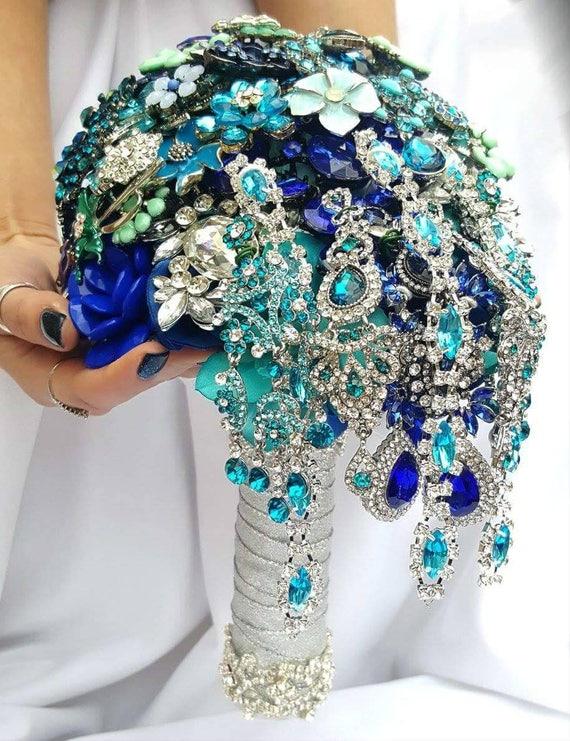 DEPOSIT on CUSTOM MADE Bridal Brooch Cascading Bouquet Turquoise Royal Blue Teal Silver Crystal Malibu Blue Broach Peacock Wedding Bouqet