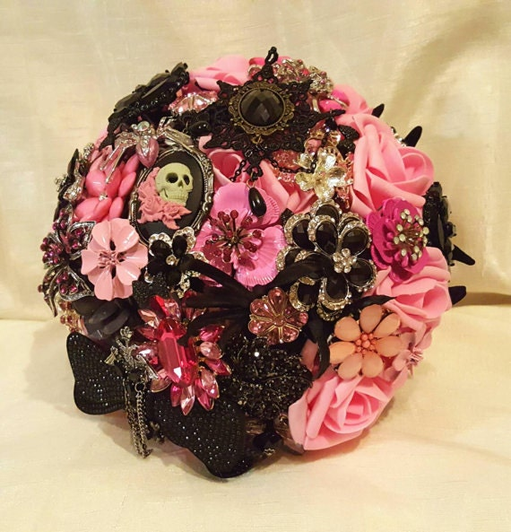 FULL PRICE CUSTOM Order Bridal Brooch Bouquet Black Pink Gunpowder Charcoal Silver Crystal Broach Bridesmaid/Toss Bouqet Real Touch Roses