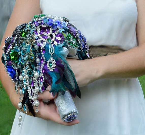 FULL PRICE CUSTOM Cascading Brooch Bouquet Peacock Broach Bouqet Peacock Wedding Teal Purple Black Silver Pearls Green Blue