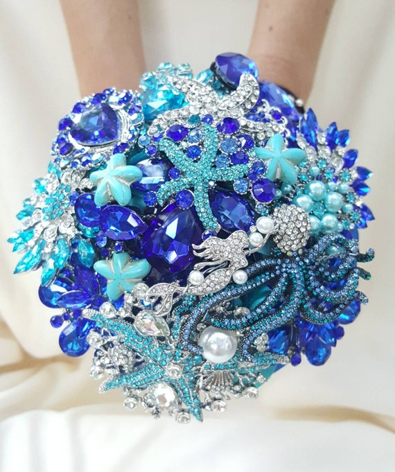 DEPOSIT on a CUSTOM Bridal Brooch Bouquet Beach Wedding Teal Silver Turquoise Malibu Royal Blue Ocean Beach Wedding Crystal Broach Bouqet