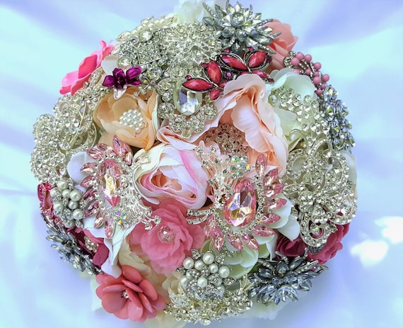 FULL PRICE Large Flower and Brooch Bouquet White Ivory Cream Silver Pearls Pink Peach Blush Coral CUSTOM Bridal Bouqet