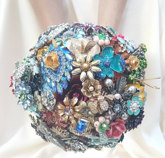 ASSEMBLY SERVICE Full PRICE Custom Made Vintage Enamel Bridal Brooch Bouquet Purple Teal Royal Blue Pink Yellow Green Ivory Gold Custom