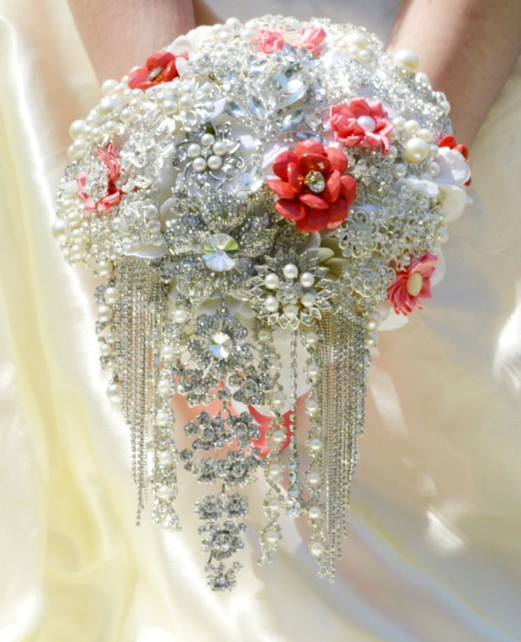 DEPOSIT ON Coral White Crystal Clear Cascading Bridal Brooch Bouquet Wedding Broach Jewelry Cascade Bouqet Ivory Peach Salmon Pink