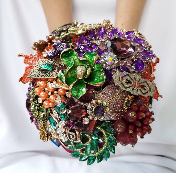 FULL PRICE on CUSTOM Made Bridal Brooch Bouquet Fall Autumn Wedding Broach Bouqet Cobalt Royal Blue Purple Gold Emerald Green Orange Bouqet
