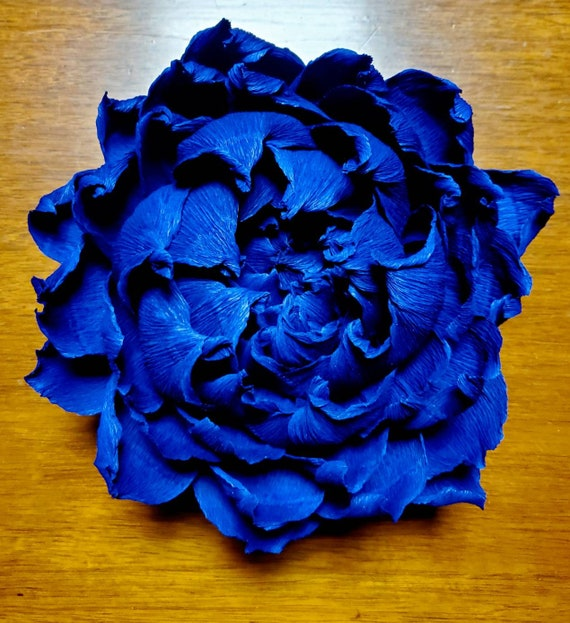 Custom Order Hanging Crepe Paper Flower Small Royal Blue Cobalt Blue Wall Mounted Wall Decor