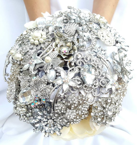 SALE! READY to SHIP Brooch Bouquet Custom Bridal Broach Bouqet Silver Clear Crystal Sparkly Bling Jeweled Ivory and White